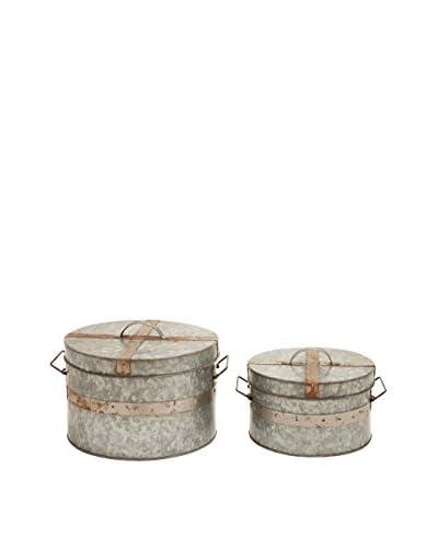 Set of 2 Metal Galvanized Round Boxes