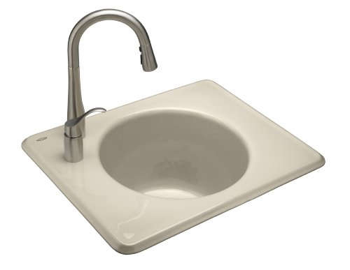 Kohler K-6654-1L-47 Tandem Self-Rimming Cast Iron Utility Sink, Almond