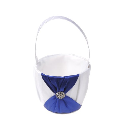 Remedios Satin Wedding Flower Girl Basket with Brooch and Bow,White and Royal Blue (Flower Girl Basket Blue compare prices)