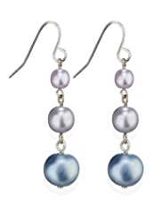 M&S Collection Pearl Effect Ombre Triple Drop Earrings