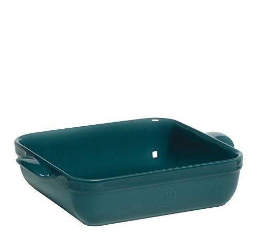 Emile Henry 972040 Petit Plat Carré 28 x 23 cm Bleu Pavot