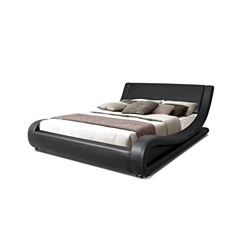 Modern Italian Designer Double Bed Upholstered in Faux Leather, 4 ft 6, Black