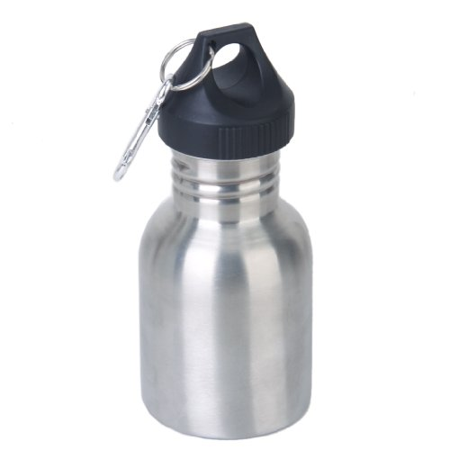 Stainless Steel 350 Ml Cycling Camping Sports Drinking Wide Mouth Water Bottle Flask W/ Carabiner Clip