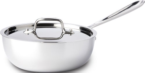 All-Clad 4213 Stainless Steel Tri-Ply Bonded Dishwasher Safe Saucier Pan with Lid / Cookware, 3-Quart, Silver (All Clad Copper Sauce compare prices)