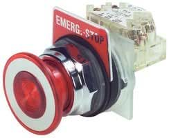 Square D 9001KR9RH13 Pushbutton, Non-Illuminated, Red Maintained (Push/Pull), 1NO-1NC, 30mm, 10A, 600V
