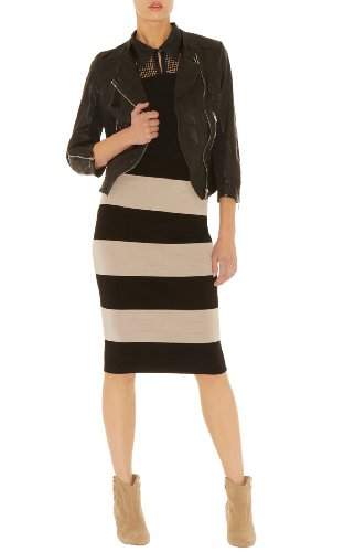 Color Block Bandage Knit Skirt