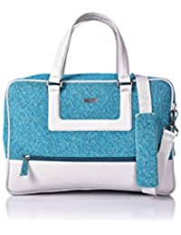 Veuza Berlin Premium Jacquard And Faux Leather Ice Blue Weekender Bag