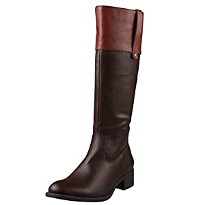 REFRESH ALTO-03 Women's Low Heel Side Zipper Knee High Two Tone Riding Boots,NARROW CALF, Color:BROWN/COGNAC, Size:10