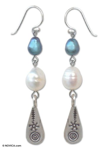 Pearl earrings, 'Hill Tribe Blue' 0.2
