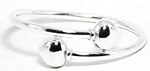 Thaipradub Jewels Women's Sterling Silver Twin Heart Cuff Bracelet,2.8