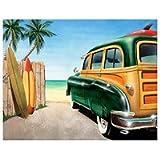 Beach Woody Surf Board Sign