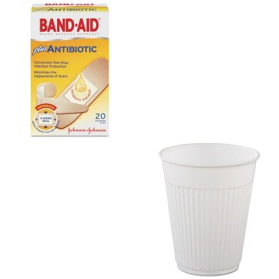 KITJOJ5570SLOMWPCF5 - Value Kit - Solo Plastic Medical amp;amp; Dental Cups (SLOMWPCF5) and Band-aid Antibiotic Adhesive Bandages (JOJ5570)