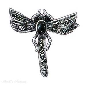 Sterling Silver Black Onyx Marcasite Dragonfly Brooch Pin