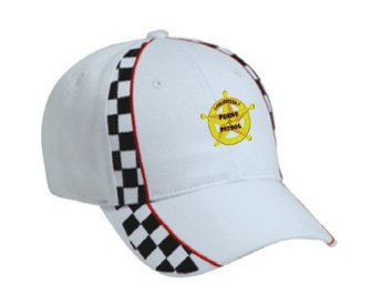 VOLUNTEER PORNO PATROL White Racing Checker Flag Hat / Baseball Cap