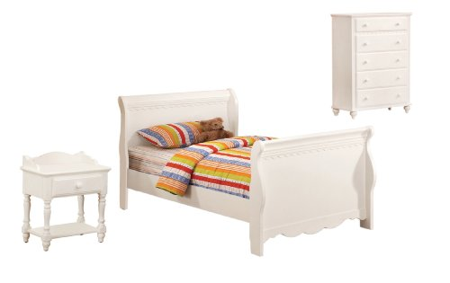 Cute Furniture of America Bethany Anne Piece Sleigh Bed Set with Nightstand and Chest Full White Finish