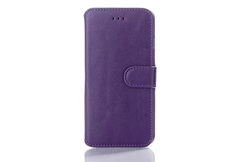 Iphone 6 Phone Case Borch Fashion Multi-Function Wallet For Iphone 6 Case Luxury Genuine Leather Carrying Case Cover With Credit Id Card Slots/ Money Pockets Flip Leather Case For Iphone 6 4.7 Inch Borch Screen Protector (Purple)