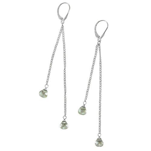 Sterling Silver Fancy Shape Green Amethyst Dangle Earrings
