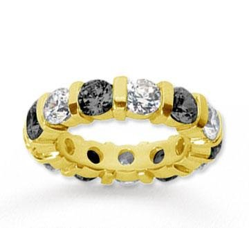 5 Carat Black and White Diamond 18k Yellow Gold