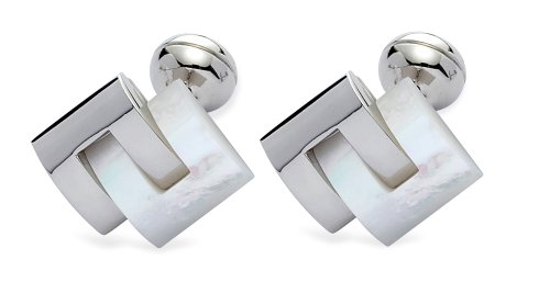 Square Mile Rhodium Plated Base Metal with Real Mother-of-Pearl Stones Cufflinks