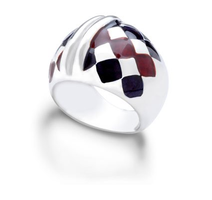 ITALIAN STERLING SILVER RING WITH WINE AND VIOLET ENAMEL