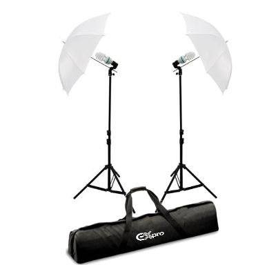 Ex-Pro Continuous Dual [2 units] Lighting kit including 85w (Low voltage Cool running 6400K equivalent to 500w), stands, brackets & Umbrella 33