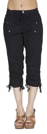 (25215R) Classic Designs Stretch Poplin Elastic Waist Cargo Capri in Black Size: S