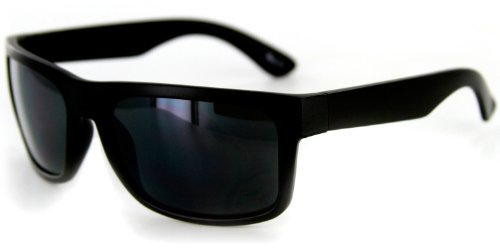 Route 66 Sunglasses With Square, Wrap-Around Frame For Stylish, Active Men And Women (Black W/ Smoke Lens)