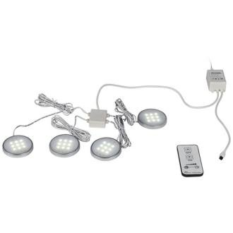White Led Puck Light Kit With Remote Control