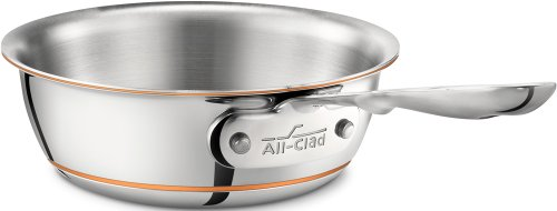 All-Clad 6211 SS Copper Core 5-Ply Bonded Dishwasher Safe Saucier Pan without Lid / Cookware, 1-Quart, Silver
