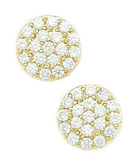 14ct Yellow Gold CZ Big Cluster Flower Fancy Post Earrings - Measures 11x11mm