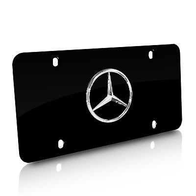 Mercedes benz w logos black license plate frame w screw for Mercedes benz license plate logo