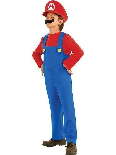 Rubies Big Boys' Super Mario Costume, Medium 5-7 Years Blue (Boys Mario Costume)
