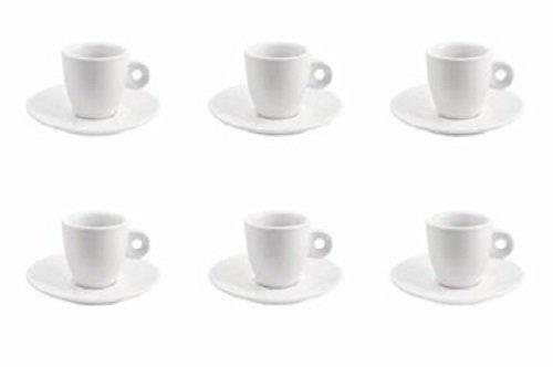 Kitchen Club 2174201 Set 6 Tazzine Caffè in Porcellana Bianca, Modelli Assortiti