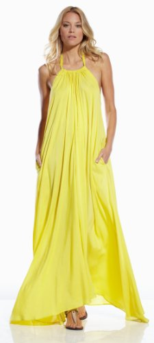 An Elan Usa Maxi Halter Tie Flowy Long Dress (RY597) (YELLOW, LARGE)
