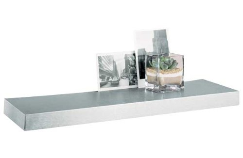 floating shelf block wood shelf with brushed stainless steel metal