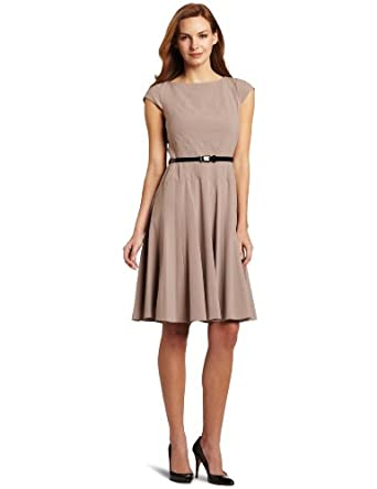 Anne Klein Women's Diagonal Seam Bi-Stretch Dress With Full Skirt, Froth, 2