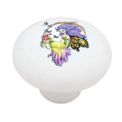 Seated Fairy Decorative High Gloss Ceramic Drawer Knob front-1016925