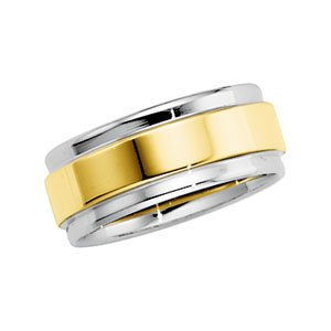 14k Two-Tone Comfort Fit Band Ring - Size 10.5 - JewelryWeb