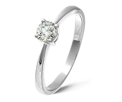 Ariel 9ct White Gold Engagement Ring, IJ/I Certified Diamond, Round Brilliant, 0.33ct