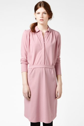 Long Sleeve Supple Pique Pleated Polo Dress