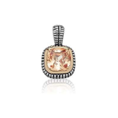 Fashion Necklace Pendant Jewelry Sterling Silver Center Square Charm Champagne w/ Surrounding GP Line and Black Finish(WoW !With Purchase Over $50 Receive A Marcrame Bracelet Free)