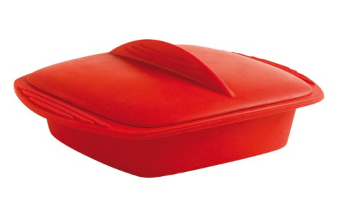 Mastrad A68910 Silicone Square Steam Cooker 42 Ounce, Red