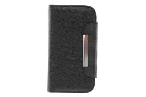 JAPAEMO Galaxy S4 (SC-04E) レザー調 フリップ型 カードケース付き ストラップホール付き マグネットタイプ 全4色ドコモ ギャラクシーS4 ケース ブラック [JE00986]