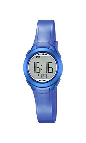 Calypso-Orologio digitale Unisex, con Display LCD digitale e cinturino in plastica, colore: blu, K5677/5