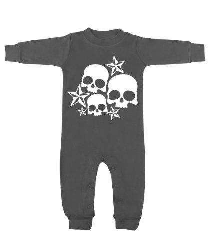 Nautical Stars & Skulls Charcoal & White Romper 3-6 Months front-1007582