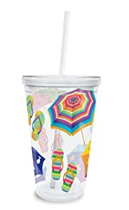 Tropical Flip Flops and Beach Umbrellas Insulated Tumbler with Lid and Straw
