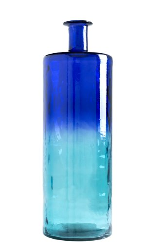 Shiraleah 30.5 by 10-Inch Frances Slim Recycled Glass Vase, Large, Water Blue