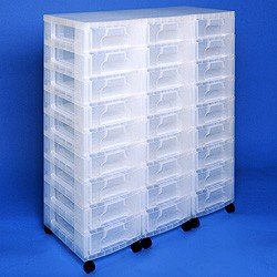 Storage tower triple with 27x7 litre Really Useful Drawers clear drawers