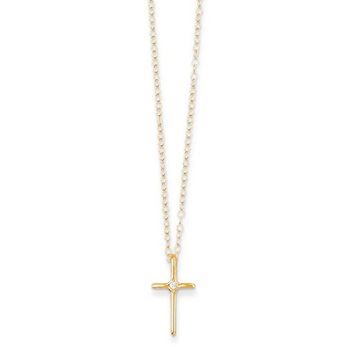 Jewel Tie Sterling Silver Cross with CZ Cubic Zirconia Center Pendant 13mm x 22mm