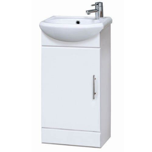 NVS100 sienna Bathroom Cloakroom Compact White Gloss Vanity Unit Cabinet  &  Ceramic Basin